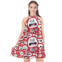 Another Monster Pattern Halter Neckline Chiffon Dress  by BangZart