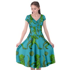 Swamp Monster Pattern Cap Sleeve Wrap Front Dress by BangZart
