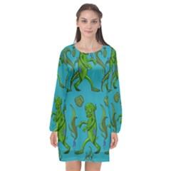 Swamp Monster Pattern Long Sleeve Chiffon Shift Dress  by BangZart