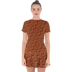 Brown Zig Zag Background Drop Hem Mini Chiffon Dress