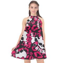 Mattel Monster Pattern Halter Neckline Chiffon Dress