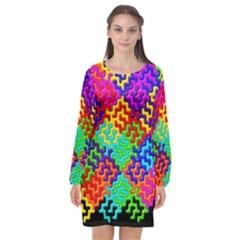 3d Fsm Tessellation Pattern Long Sleeve Chiffon Shift Dress