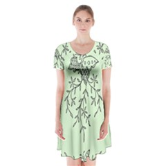Illustration Of Butterflies And Flowers Ornament On Green Background Short Sleeve V Neck Flare Dress by BangZart