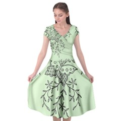 Illustration Of Butterflies And Flowers Ornament On Green Background Cap Sleeve Wrap Front Dress by BangZart
