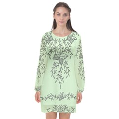 Illustration Of Butterflies And Flowers Ornament On Green Background Long Sleeve Chiffon Shift Dress