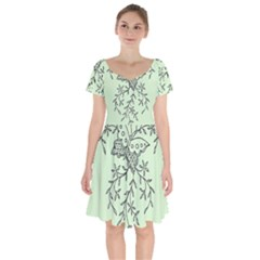 Illustration Of Butterflies And Flowers Ornament On Green Background Short Sleeve Bardot Dress by BangZart