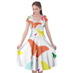 Beautiful Colorful Polka Dot Butterflies Clipart Cap Sleeve Wrap Front Dress