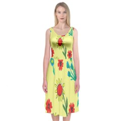 Flowers Fabric Design Midi Sleeveless Dress