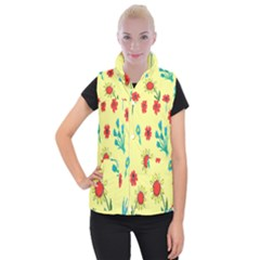 Flowers Fabric Design Women s Button Up Puffer Vest by BangZart