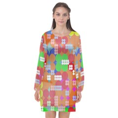 Abstract Polka Dot Pattern Long Sleeve Chiffon Shift Dress  by BangZart