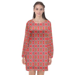 Floral Seamless Pattern Vector Long Sleeve Chiffon Shift Dress