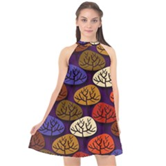 Colorful Trees Background Pattern Halter Neckline Chiffon Dress  by BangZart