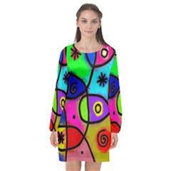 Digitally Painted Colourful Abstract Whimsical Shape Pattern Long Sleeve Chiffon Shift Dress