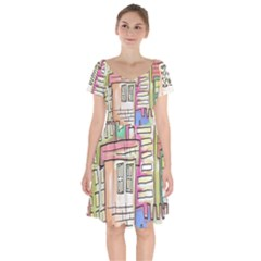 A Village Drawn In A Doodle Style Short Sleeve Bardot Dress