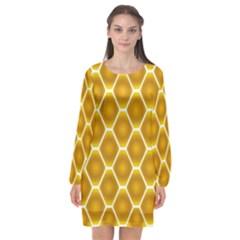 Snake Abstract Pattern Long Sleeve Chiffon Shift Dress