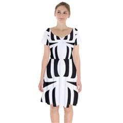 White Spider Short Sleeve Bardot Dress