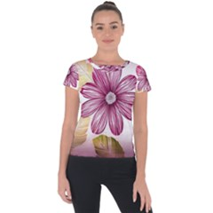 Flower Print Fabric Pattern Texture Short Sleeve Sports Top  by BangZart