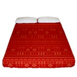 Red and Gold Modern Mudcloth Fitted Sheet (Queen Size)