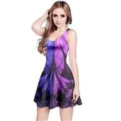 Beautiful Lilac Fractal Feathers Of The Starling Reversible Sleeveless Dress by jayaprime