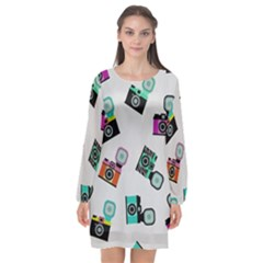 Old Cameras Pattern                  Long Sleeve Chiffon Shift Dress by LalyLauraFLM