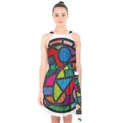 Stained Glass Color Texture Sacra Halter Collar Waist Tie Chiffon Dress by BangZart