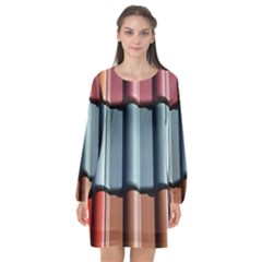 Shingle Roof Shingles Roofing Tile Long Sleeve Chiffon Shift Dress  by BangZart
