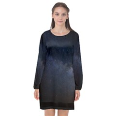 Cosmos Dark Hd Wallpaper Milky Way Long Sleeve Chiffon Shift Dress  by BangZart
