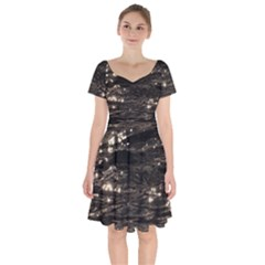 Lake Water Wave Mirroring Texture Short Sleeve Bardot Dress