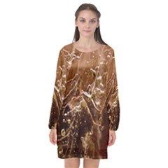 Ice Iced Structure Frozen Frost Long Sleeve Chiffon Shift Dress  by BangZart