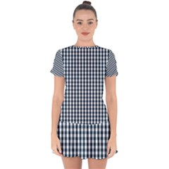 Silent Night Blue Large Gingham Check Drop Hem Mini Chiffon Dress
