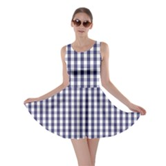 Usa Flag Blue Large Gingham Check Plaid  Skater Dress by PodArtist