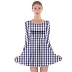 Usa Flag Blue Large Gingham Check Plaid  Long Sleeve Skater Dress by PodArtist