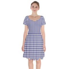 Usa Flag Blue Large Gingham Check Plaid  Short Sleeve Bardot Dress by PodArtist