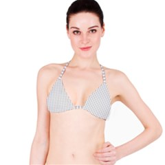 Christmas Silver Gingham Check Plaid Bikini Top by PodArtist