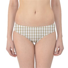 Christmas Gold Large Gingham Check Plaid Pattern Hipster Bikini Bottoms by PodArtist