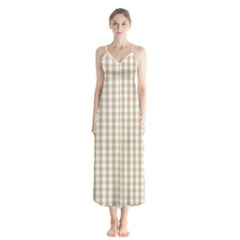 Christmas Gold Large Gingham Check Plaid Pattern Button Up Chiffon Maxi Dress by PodArtist