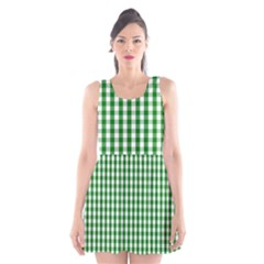Christmas Green Velvet Large Gingham Check Plaid Pattern Scoop Neck Skater Dress by PodArtist