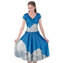Sky Clouds Blue White Weather Air Cap Sleeve Wrap Front Dress by BangZart