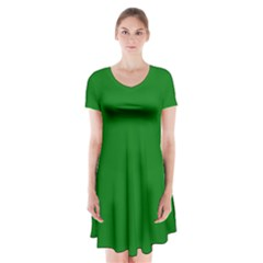 Solid Christmas Green Velvet Classic Colors Short Sleeve V Neck Flare Dress by PodArtist
