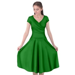 Solid Christmas Green Velvet Classic Colors Cap Sleeve Wrap Front Dress by PodArtist