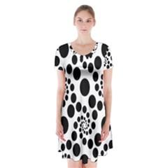 Dot Dots Round Black And White Short Sleeve V Neck Flare Dress by BangZart