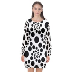 Dot Dots Round Black And White Long Sleeve Chiffon Shift Dress  by BangZart
