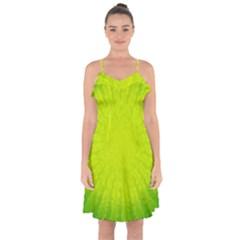 Radial Green Crystals Crystallize Ruffle Detail Chiffon Dress by BangZart
