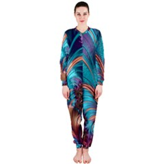 Feather Fractal Artistic Design Onepiece Jumpsuit (ladies)  by BangZart