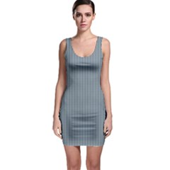 Silent Night Blue Mini Gingham Check Plaid Sleeveless Bodycon Dress by PodArtist