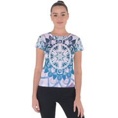 Mandalas Symmetry Meditation Round Short Sleeve Sports Top  by BangZart