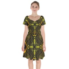 Abstract Glow Kaleidoscopic Light Short Sleeve Bardot Dress