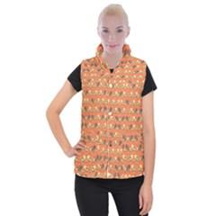 Birds Pattern Women s Button Up Puffer Vest by linceazul