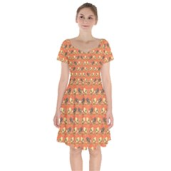 Birds Pattern Short Sleeve Bardot Dress by linceazul