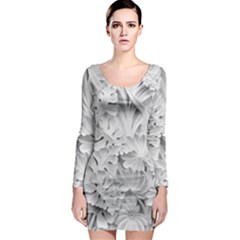 Pattern Motif Decor Long Sleeve Bodycon Dress